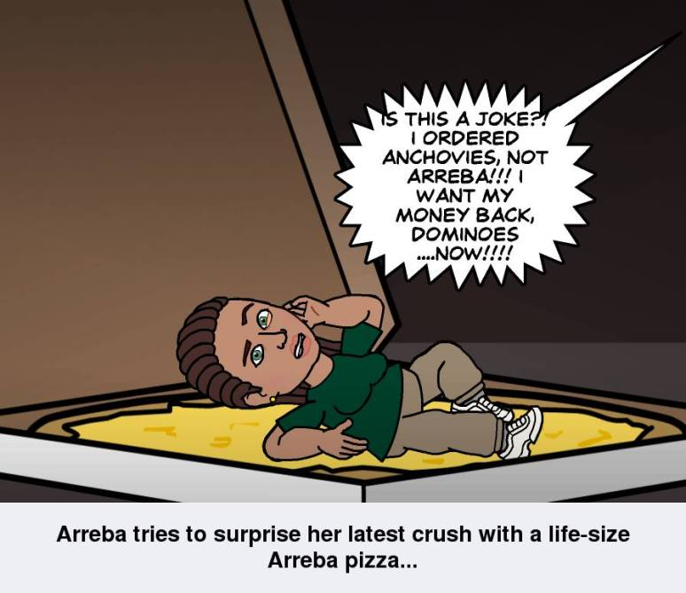 Arreba tries to throw a surprise on a prospective suitor...