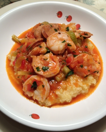 One of many ways you can serve Shrimp and Grits...courtesy of https://wehrlygoodtime.com/2012/11/19/shrimp-and-grits/